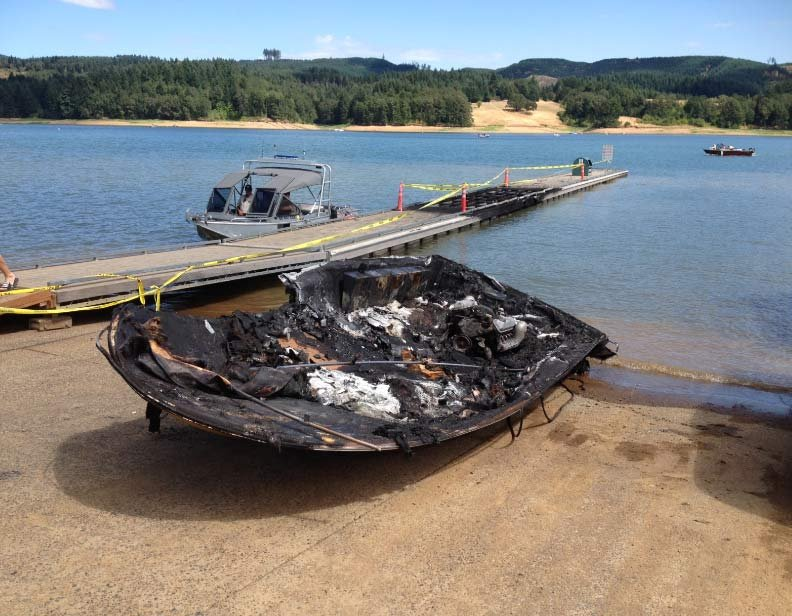 The fire was caused by an engine backfiring, according to investigators. (Photo: Washington Co. Sheriff's Office)