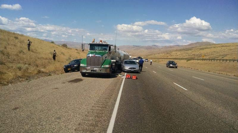 A man is facing charges after police said he rammed a stolen car into a semi on I-84, got out and then stabbed the truck driver multiple times. (Photo: OSP)