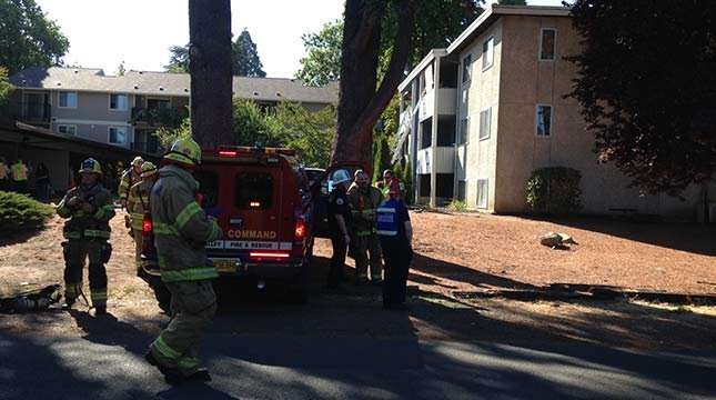 FILE PHOTO: Back on Sept. 5, a fire ripped through the Albert's Apartments on Farmington Road. Small explosives were found at the same property Monday.