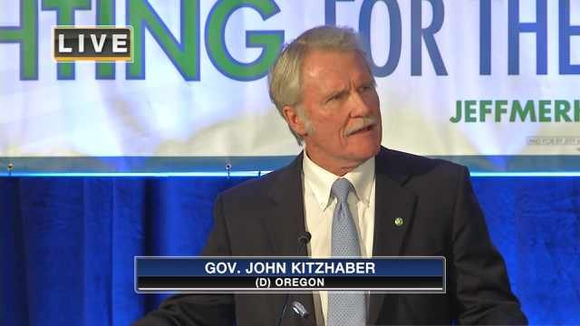 "In his victory speech, Kitzhaber said he's aware that Oregonians stuck with him""under some difficult circumstances."""