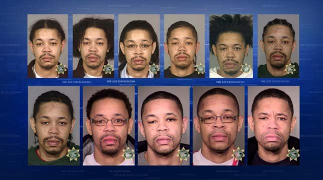 Numerous jail booking photos of Matthew Purifoy from previous arrests in Oregon.