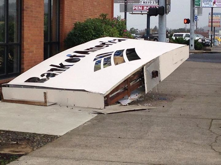 A windstorm caused damage in Newport on Thursday afternoon.