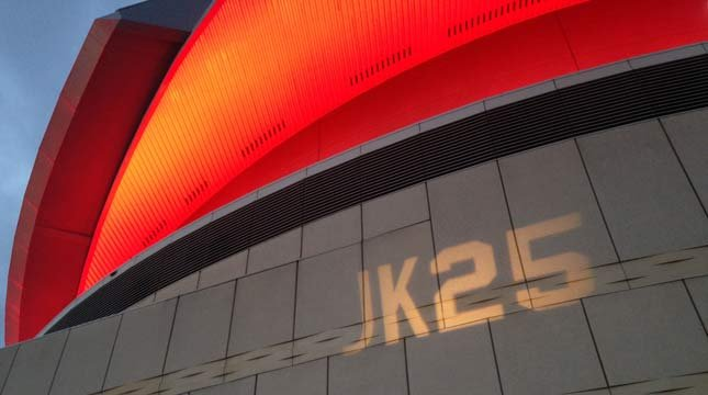 """""""JK25"""" lit up on side of Moda Center in honor of Jerome Kersey."""