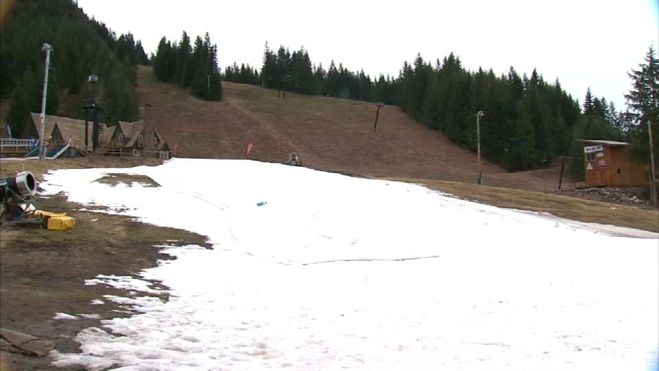 The only snow on the mountain at this point is manmade and it's used for tubing, which runs on the weekends.