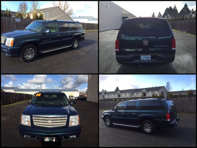 Photos of vehicle suspected to be driven by Bobbi Ann Finley and Zackerie House, a 2005 Cadillac Escalade with Oregon plates 535BWP.
