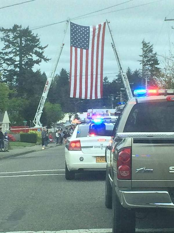 Procession for Coos County Deputy Gil Datan. Photo: Clackamas Co. Lt. Robert Wurpes
