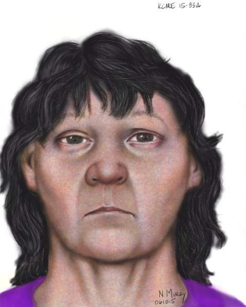 Sketch of woman whose body was found in a suitcase in Kent, Washington. (Image: King County Sheriff's Office)