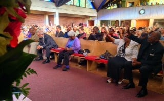 The prayer vigil held at Bethel A.M.E. Church in NE Portland Thursday.