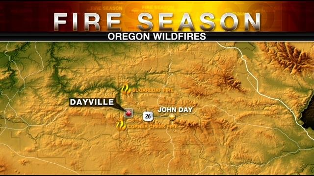 Two fires burning near Dayville
