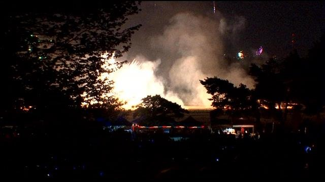 Grass fire sparked by fireworks at Fort Vancouver