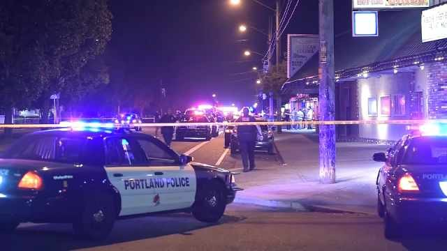 Scene of stabbing and officer-involved shooting near NE 110th and Sandy Boulevard.