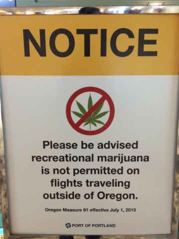 New sign located at security gates at PDX