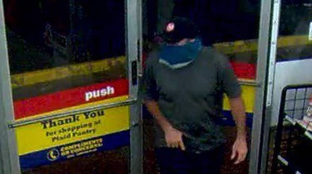 Surveillance image of Beaverton Plaid Pantry robbery suspect (Images: Beaverton PD)