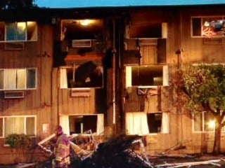The Shilo Inn damaged by fire in Beaverton Friday.