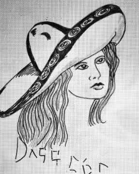 Woman wearing sombrero tattoo