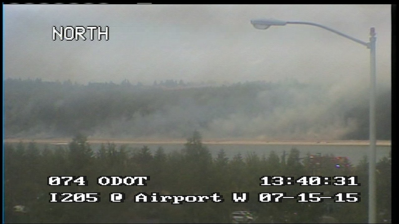ODOT image of smoke from Government Island grass fire.