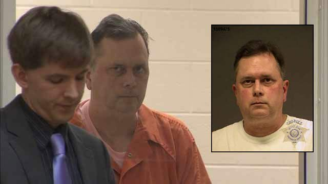 James Gialloreto in court Thursday, along with jail booking photo