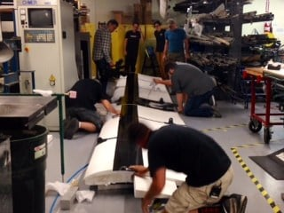 Team Yakima working on their 2015 Red Bull Flugtag entry.