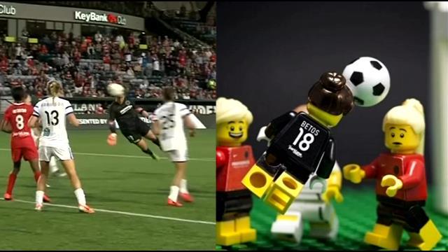 Recreated Thorns' goalie scoring a goal