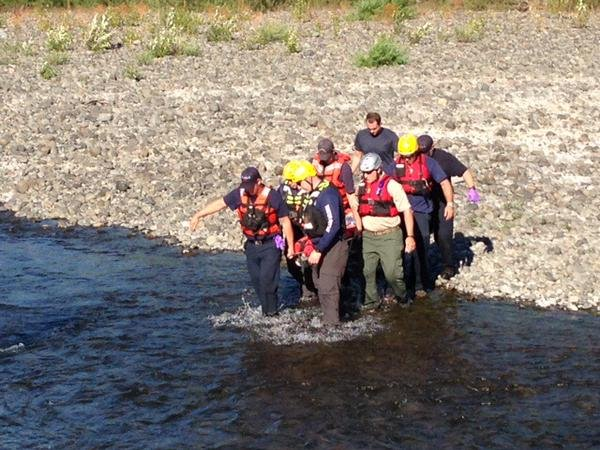 Crews rescued woman who fell off a rope swing