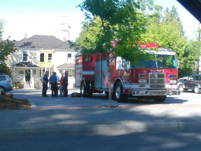 A HazMat crew responds to the Wasco County Courthouse in The Dalles Monday (Photo: Clinton Harrington)