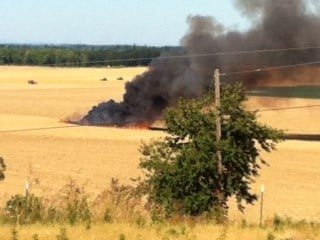A photo of the field fire moments after it started, courtesy of a neighbor.