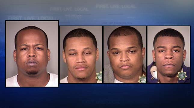 Romel Yarborough, far left, is wanted by police. Three other Lloyd Center suspects are in custody in connection to a July shooting at the Lloyd Center, Manuelito Gonzales, Bruce Hall, Masico Walker Jr.