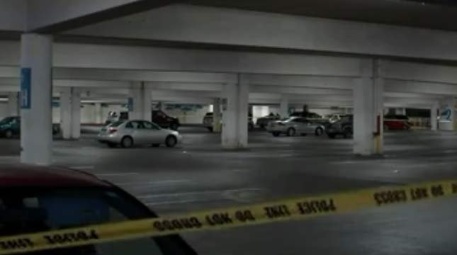 Scene of Lloyd Center parking structure shooting (July 17 file image)