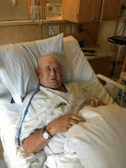 Heinz Arndt in the hospital, courtesy of his family.