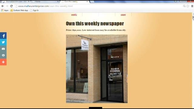 Newspaper in Vale, Oregon up for sale