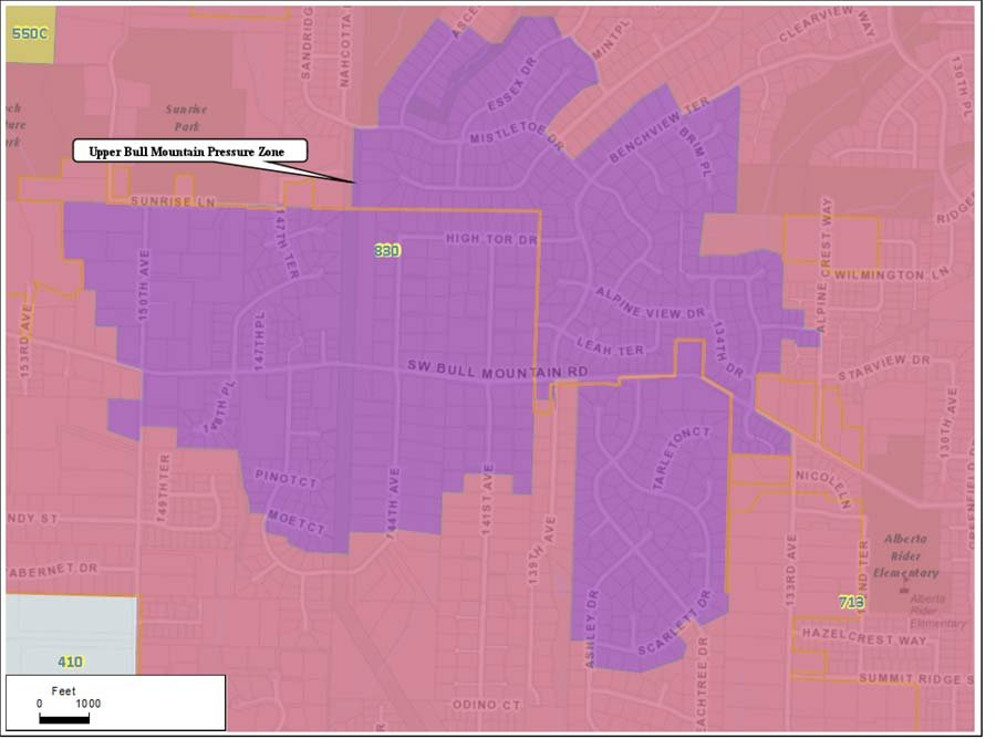 A boil water advisory was issued in the Upper Bull Mountain pressure zone highlighted in purple on the map. (Image: City of Tigard)
