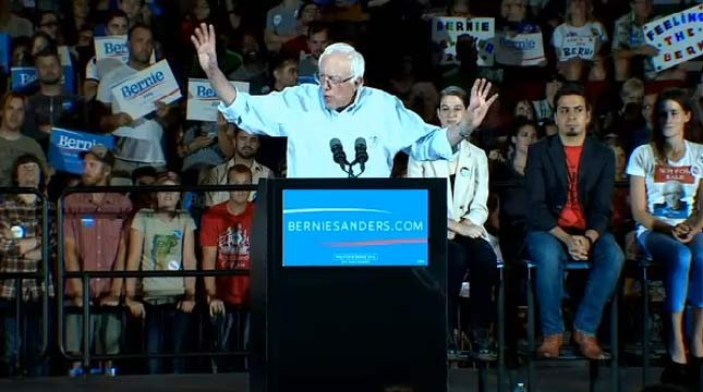 Bernie Sanders at presidential campaign rally at Moda Center in Portland in August 2015.