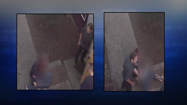 "Surveillance images of wanted man known as ""Papa John"" accused of attacking woman with baseball bat. (Images released by Portland Police Bureau)"