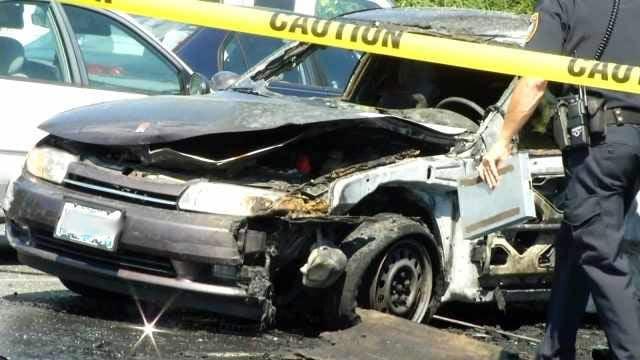 Butane hash oil explosion scene in Tigard Parking lot, July 2014
