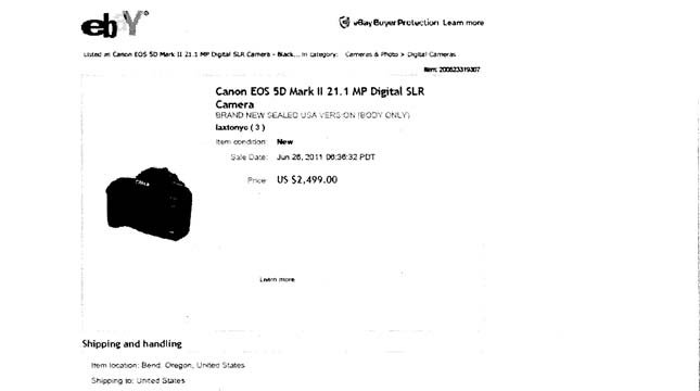 Image of eBay ad from indictment of Erik Johnson
