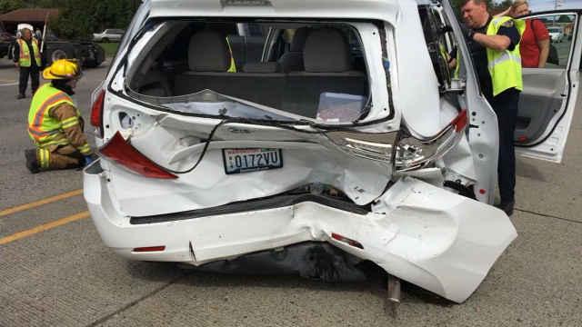 Wonder Women team van after the accident