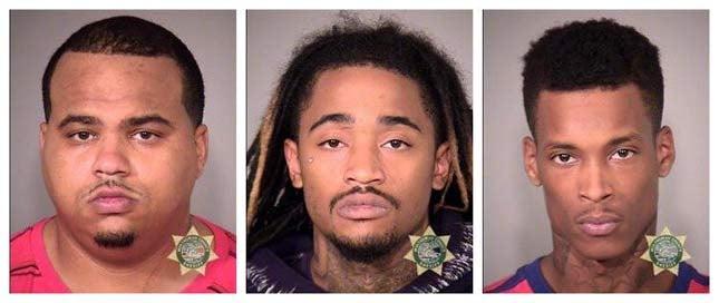 Vaida, Cooper, Mandley, jail booking photos