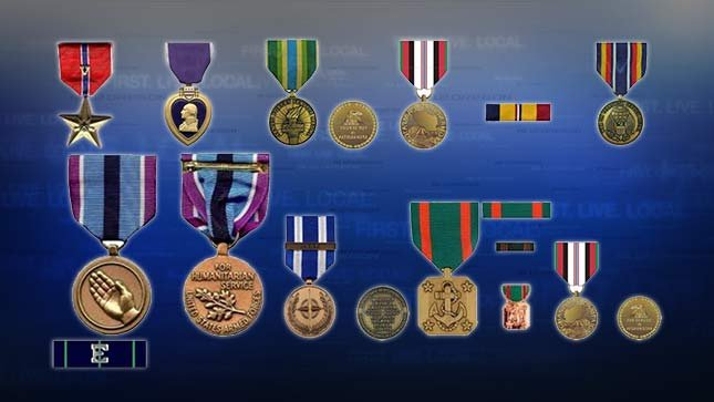 These images are representative of the medals earned by fallen Navy SEAL Jeffery Lucas that were stolen from his father's home September 8, 2015.