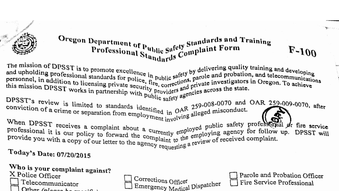 Part of the complaint filed with the ODPSST.