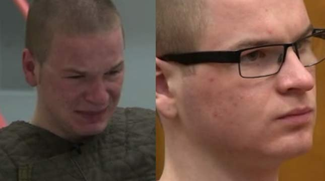 On left, Brett Pearson during March 2014 jailhouse interview. On right, Brett Pearson during March 2015 court appearance.