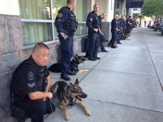 Dozens of K9 teams from around the area and Canada came to the service.