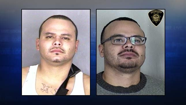 Wanted man Cesar Munoz on left, twin brother Saul Munoz arrested Wednesday on right