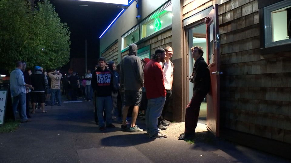 Customers wait in line at Foster Buds in SE Portland