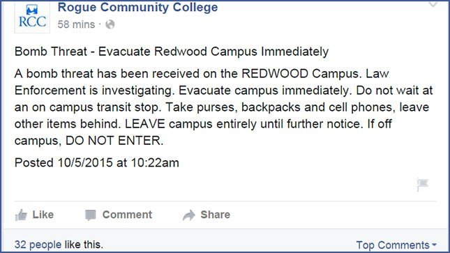 Message posted on Rogue Community College Facebook page