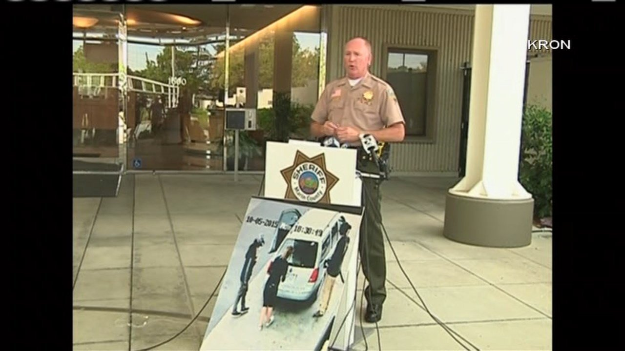 Marin County Sheriff's Office spokesman at a press conference Wednesday announcing the arrests of three people in Portland in connection to a California homicide investigation. (Image: KRON/CNN)
