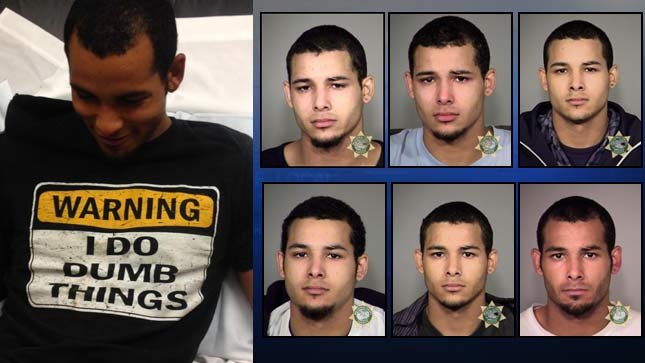 Roshawn Garrett following latest arrest on left, photo from Clackamas County Sheriff's Office. At right, previous jail booking photos for Roshawn Garrett.