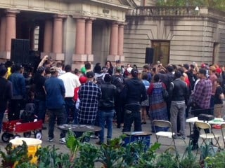 The crowd gathered for a hip hop concert outside Portland City Hall Thursday.