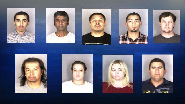 Mugshots (From Left To Right): Faihan Alotaibi, David Anderson, Leonal Ceja, Patrick Hakim, Ryan Lousich, Alejandro Resendez, Erin Roberts, Mikayla Stai, Santos Vargas