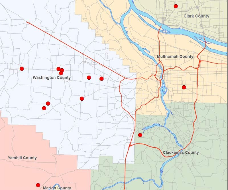 Locations of search warrants in meth tracking investigation (Photo: Washington County Sheriff's Office)