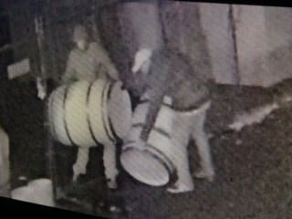 Wine barrel burglars, caught on camera at Southeast Wine Collective.